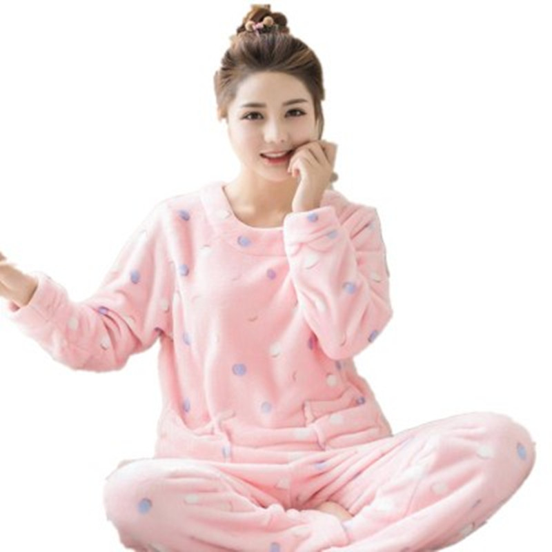 Winter Warm Sexy Print Dot Home Flannel Pyjama Female   Pajama   Polyester Full Trousers Lady Two Piece   Pajama     Set   Women's Clothing