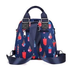 Image 3 - 여성 나일론 배낭 방수 여성 디자이너 어깨 가방 만화 인쇄 배낭 미니 캐주얼 bagpack sac 주요 소녀 가방