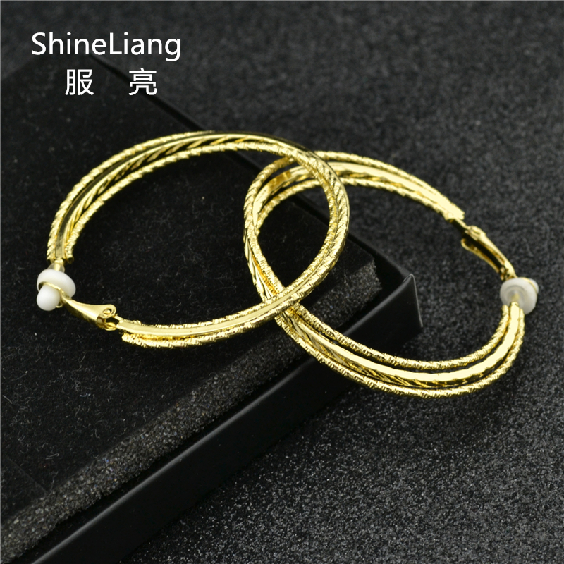 2018 Clip Earring for women Without piercing Alloy Big circle Gold silver Multilayer Round Diameter 5.5cm Fashion female jewelry