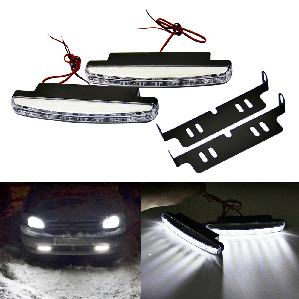 1PCS DRL Led Daytime Running Light 12V 8LED Car Day Light Auto Driving Head Fog Lamp Super White Waterproof External Car Styling