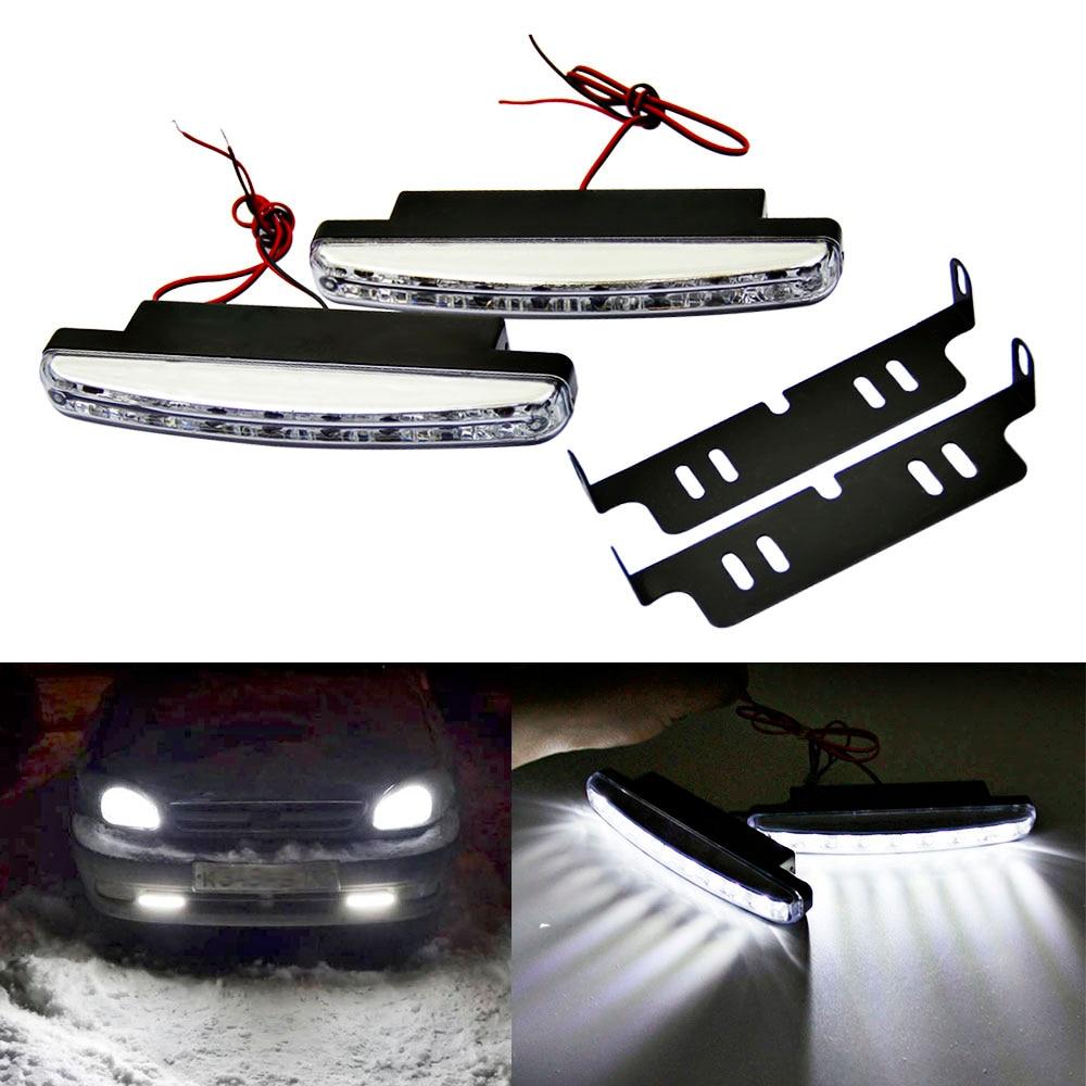 1PCS DRL Led Daytime Running Light 12V 8LED Car Day Light Auto Driving Head Fog Lamp Super White Waterproof External Car Styling