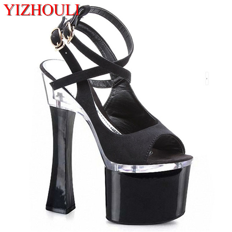 2018 summer new fashion Women genuine leather high heels sandals shoes fish head shoes Roman shoes Women sandals 18cm luminox часы luminox xs 3052 коллекция sea