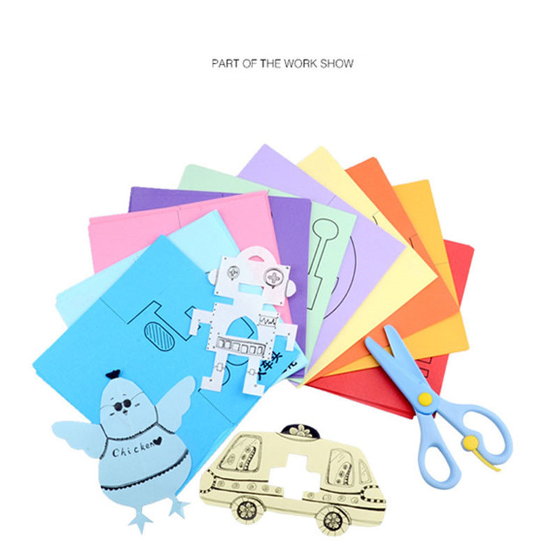 Analytisch Diy Kleuterschool Kids Gift Handgemaakte Papieren Boek Speelgoed Papier Snijden + Plastic Veilig Schaar Foto Schilderkunst Speelgoed