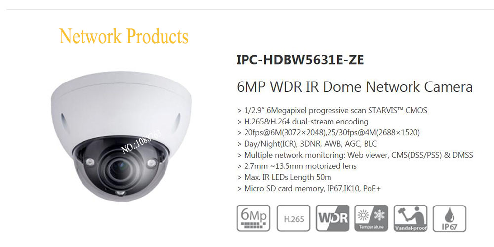 Free Shipping DAHUA Security Camera 6MP WDR IR Dome Network Camera with POE+ IP67 IK10 Without Logo IPC-HDBW5631E-ZE wella professional moisturizing conditioner for coarse hair