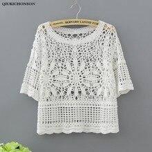 Qiukichonson Ladies Lace Tops Summer 2018 Bohemian Sweet Cute Hollow Out Crochet Blouse Women Crop top lace shirts blusen