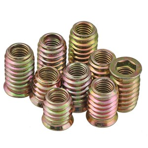 Image 2 - 5/10Pcs M4 M6 M8 M10 carbon steel Thread For Wood Insert Nut Flanged Hex Drive Head Furniture Nuts