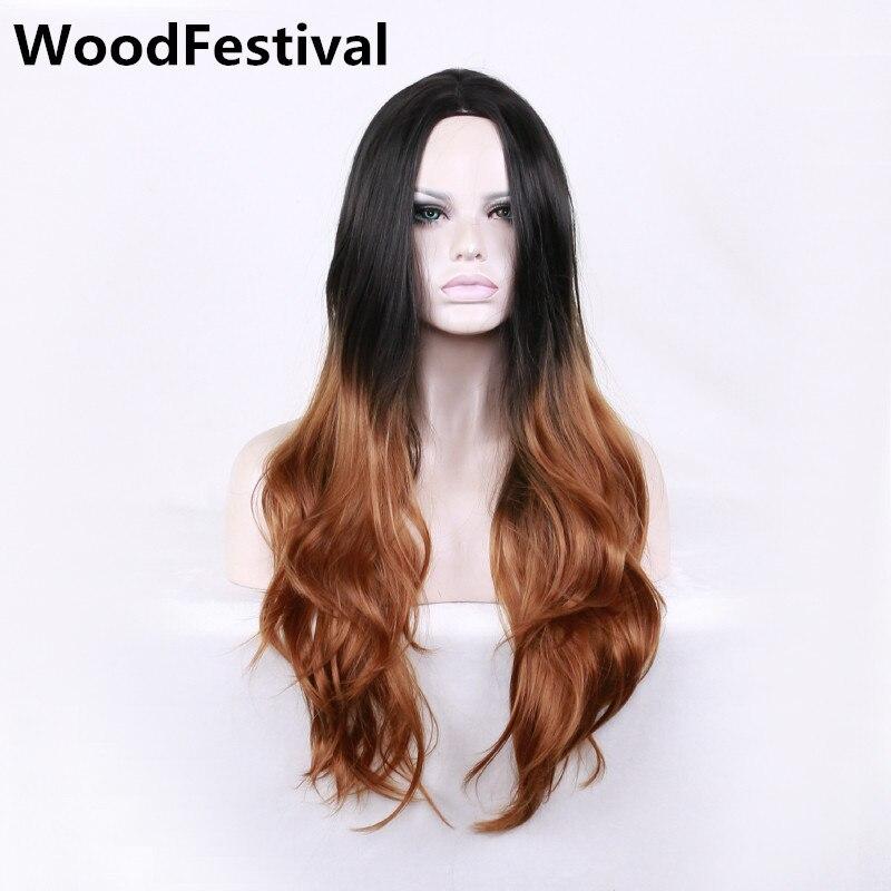 WoodFestivalmixed färgparykar för kvinnor lockiga peruker - Syntetiskt hår - Foto 6