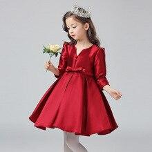 NEW AUTUMN/SPRING kids girls beautiful satin dress long sleeved costumes flower girl princess party/wedding/performer/host dress