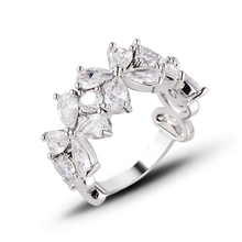 Spring 2018 New Fashion Real copper women rings Clover Design AAA Cubic Zirconia flower Ring for Gift J02783