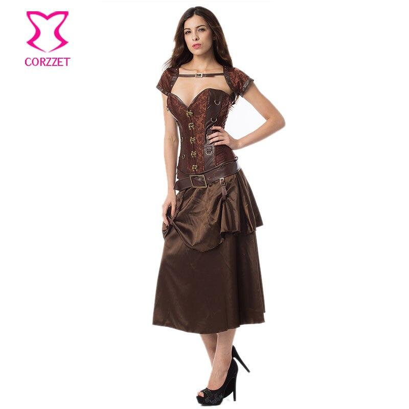Vintage Brown Layered Satin Gothic Կիսաշրջազգեստ - Կանացի հագուստ - Լուսանկար 6