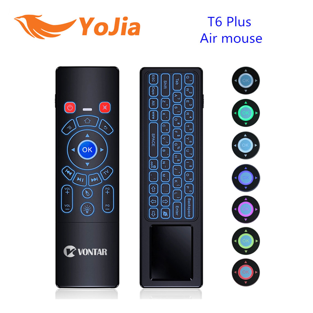 лучшая цена 2.4G Wireless Fly Air Mouse mini keyboard T6 Plus English Russian 7 Colors Backlight touchpad Remote Control for Android TV Box