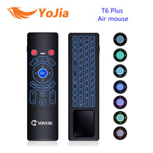 Yojia 7 Colors 2.4G Wireless keyboard T6 Backlight T6 Plus Fly Air mouse touchpad Remote Control for Android TV Box mini PC