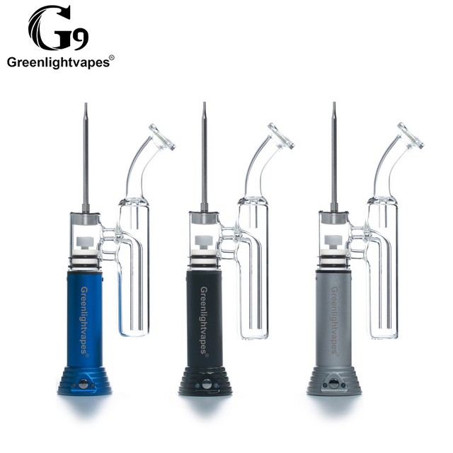 Nieuwe Elektronische Sigaret Originele Greenlightvapes G9 Enail Henail Plus Draagbare Wax Pen Dab Water Glazen Buis TabaccoPipe Waskolf