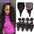 Peruvian Loose Wave With Closure Peruvian Virgin Hair 4 Bundles With Closure Top Lace Closure With Bundles Human Hair Extensions