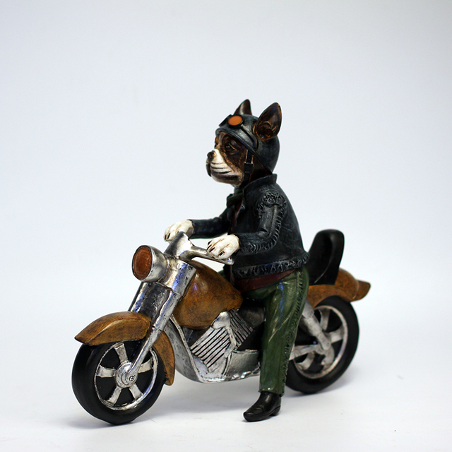 US $131 86 |Yellow Motor Creative Personality Boston Terrier Dog Harley  Locomotive Motorcycle Resin Dog Ornaments Figurine Statue Best Gift-in