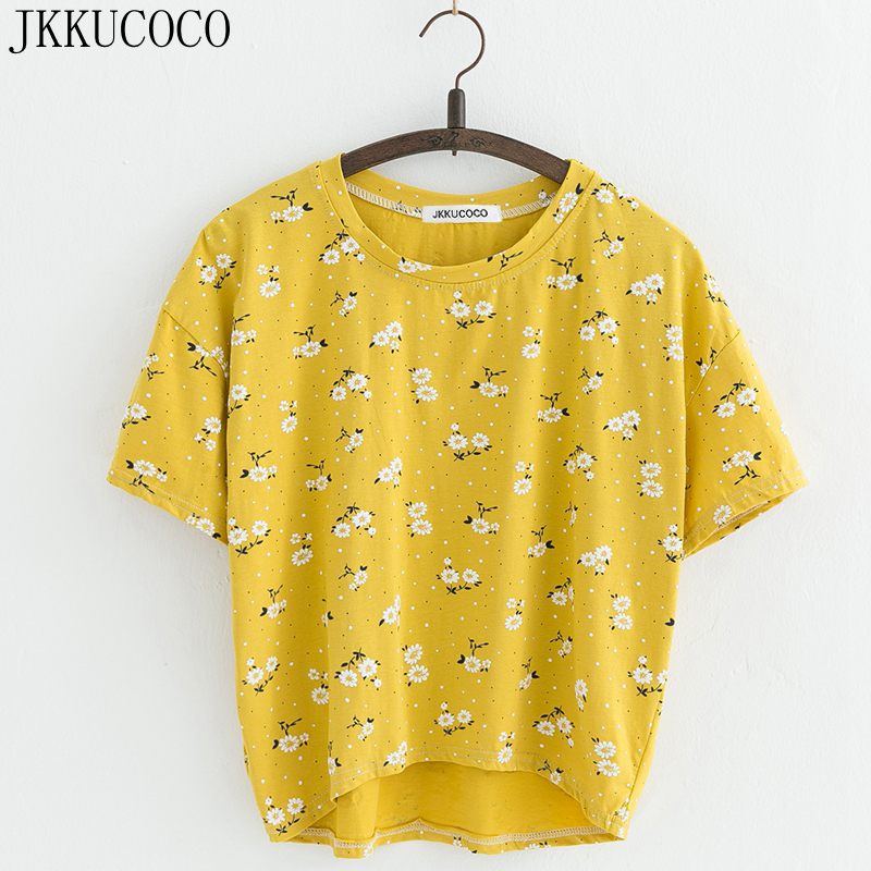 JKKUCOCO Nice Flowers Cotton T-shirt Women t shirt front short back long short Sleeve Casual T shirt Women t-shirt Hot Tops Tees