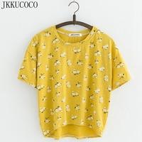 JKKUCOCO Nice Flowers Cotton T-shirt Women t shirt front short back long short Sleeve Casual T shirt Women t-shirt Hot Tops Tees