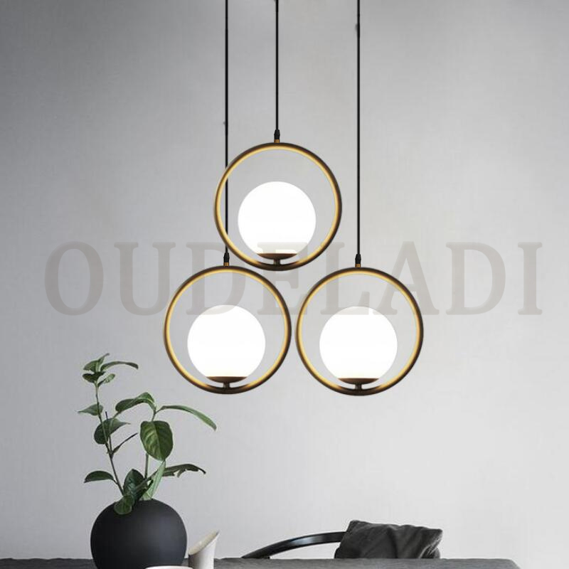 Nordic Glass Ball Pendant Lights Vintage Hoop Gold Modern LED Hanging Lamp for Living Room Home Loft Industrial Decor Luminaire 2
