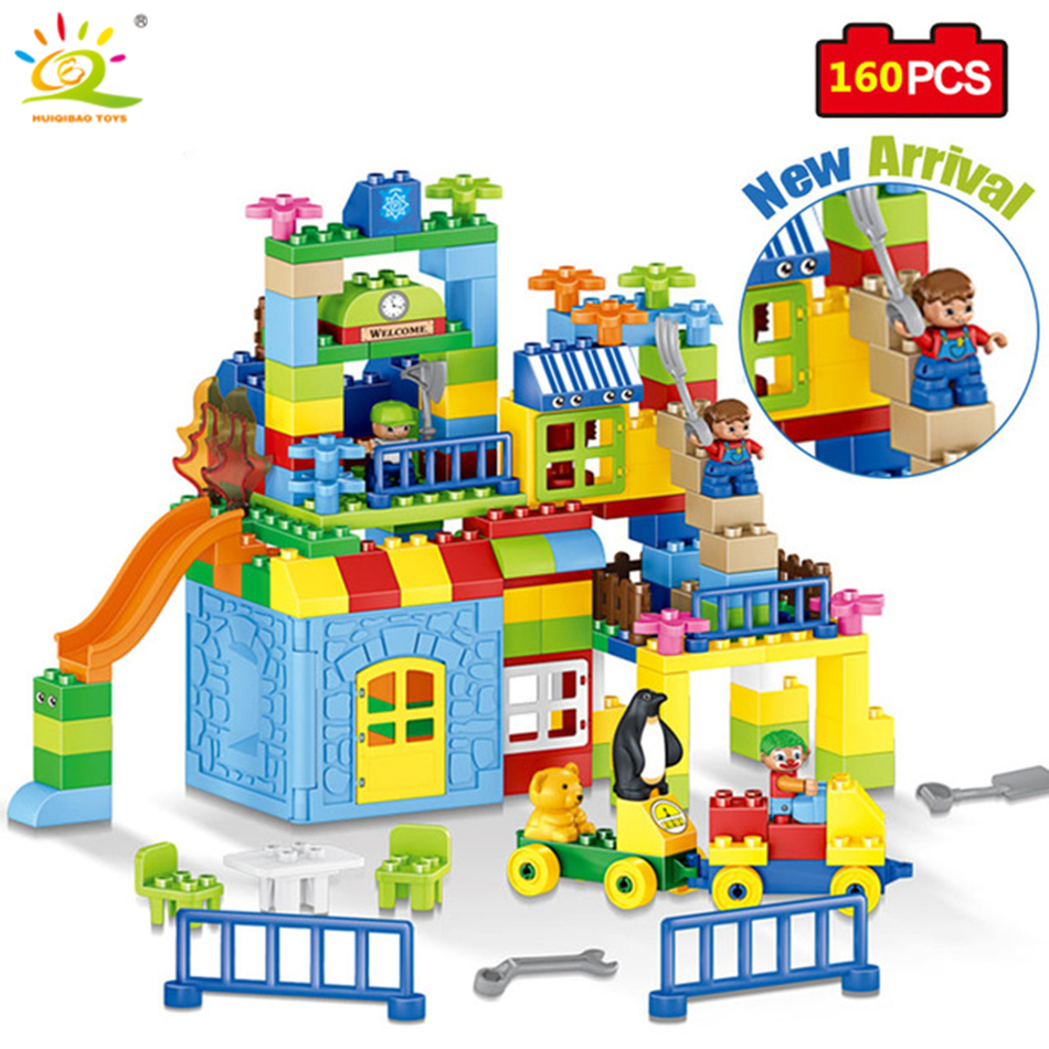 160pcs colorful Building Blocks Set City DIY Creative Bricks Compatible Legoed Duplos Educational Block Toys For Children friend ausini95 automatic rifle military arms building blocks educational toys for children plastic bricks best friend legoe compatible