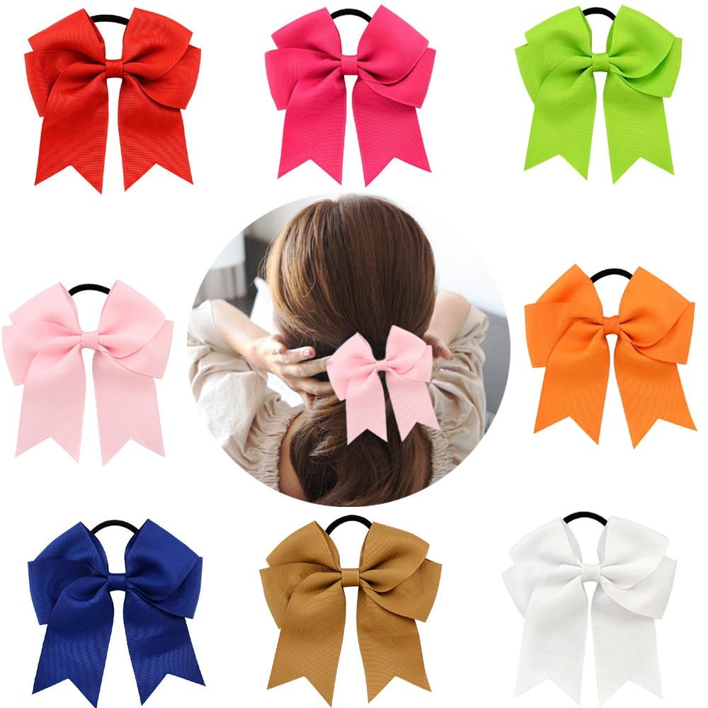 Women Girl School Uniform Navy Blue Satin Bow Ribbon Elastic Hair band Headband