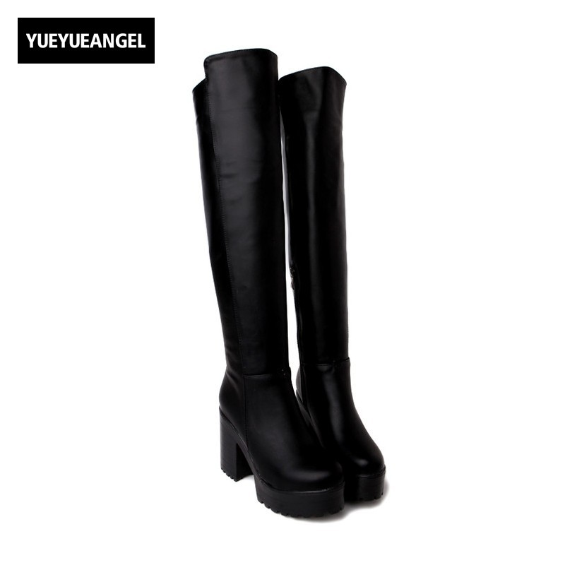 Rerto Punk Motorcycle Boots Top Quality Side Zipper Pu Leather Over Knee Boots Womens Pole Dancing Botas Feminina Size 33-43