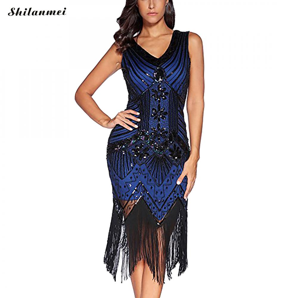 Great Gatsby Parti Robe Femmes 1920 s Robe Sexy Sans Manches Bleu Royal Broderie Fringe Sequin Perlé Glands Hem Aileron Robe