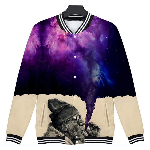 Smoker Baseball Jacket Anime 3D Print Winter Women/Men Fashion Coats Women/Men Casual Baseball Jacket dreamy like universe