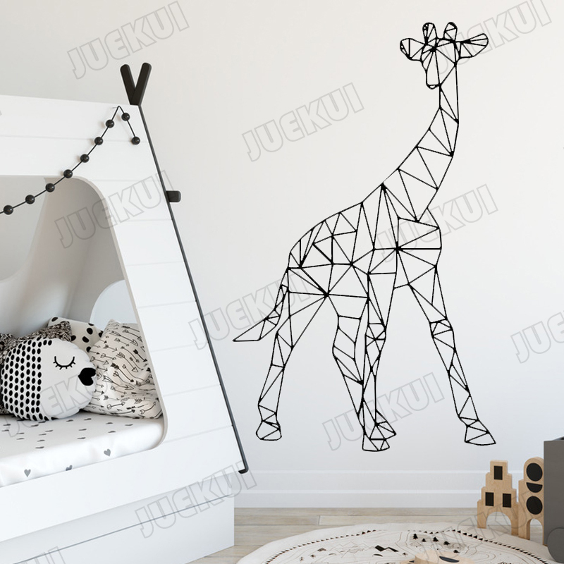 Us 5 31 Off Giraffe Animal Wall Stickers For Nursery Kids Room Geometry Decals Babies Bedroom Vinyl Sweet Home Murals Poster Ta398 In