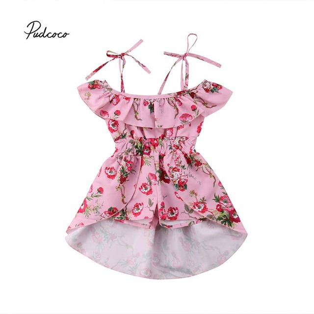 8c3991fb76f0 Pudcoco 2018 Toddler Kids Baby Girls Dovetail Rompers Cold Shoulder ...