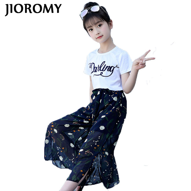 8bd516a45f8 Children s clothing sets girls 2018 new summer cotton short-sleeved suit  large kids chiffon two