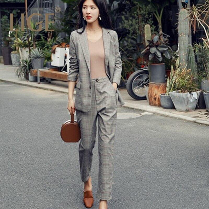 Two PCS Women Suits  vintage plaid SuitsWork Fashion Pant Suits 2 Piece Set for Women Blazer Jacket & Trouser Office Lady Suit