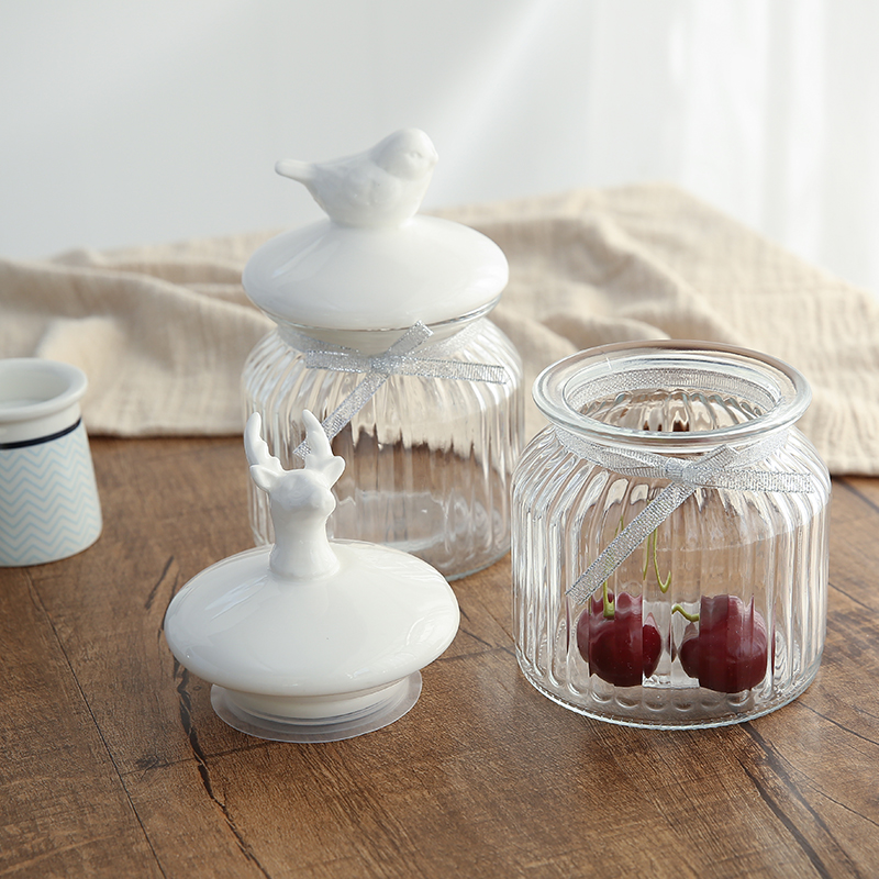 Pot en verre créatif en céramique joint petits collations bocal en verre réservoir de stockage domestique bonbons thé orgainzer cuisine récipient alimentaire