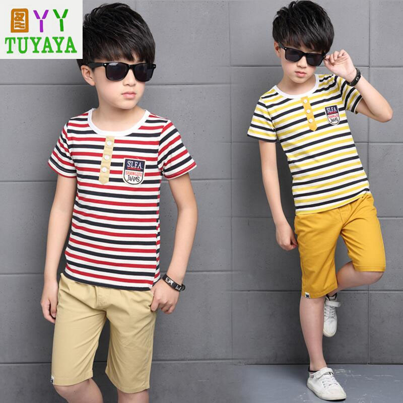 Boy Sports Suit 2018 New Summer Boys Tracksuit Bright Striped T shirt+Pant Set Toddler Boys Clothing Casual Boys Clothing Set