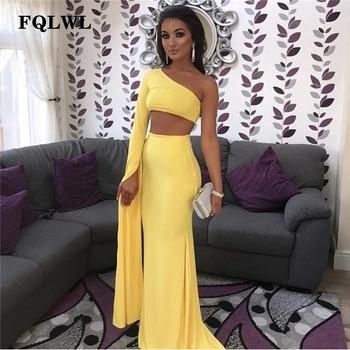 Fqlwl Satu Bahu Putih/Long Maxi Gaun Elegan Lengan Panjang Dua Potongan Bodycon Gaun Seksi Club Wear Wanita gaun Pesta 2018