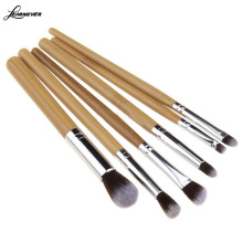 6Pcs Synthetic Professional Natural Bamboo Cosmetics Foundation Eyeshadow Blush Makeup Brush Set Kit Pouch M02575