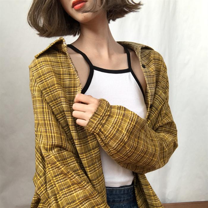 Südkorea Ulzzang Harajuku BF Frauen Bluse Herbst Koreanische Version von Losen Fitting Langarm Chic Plaid Frauen Weibliche Shirts