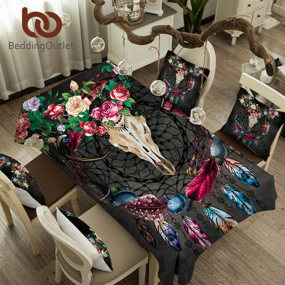 Power Source Beddingoutlet Boho Dreamcatcher Tablecloth Tribal Horns Flowers Waterproof Table Cloth Gothic Skull Decorative Table Cover