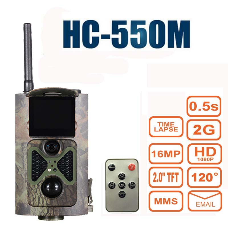 16MP Hunting Camera HC550M 0.5s trigger time 2G GPRS MMS GSM SMS 1080P 120 degrees PIR Sensor Wildlife Trail Cameras