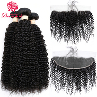 Beau Hair Pre Colored Kinky Curly 3 Bundles Human Hair Weave Natural Color Burmese Non Remy