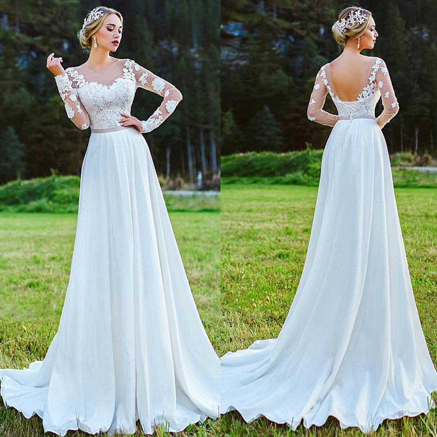Fabulous Bateau Neckline A-Line Wedding Dress With Lace Appliques Long Sleeves Chiffon Outside Bridal Dress Vestido Longo