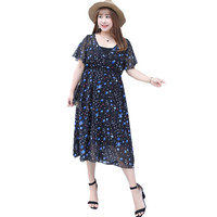 4XL Plus Size Dress Women Summer V Neck Floral Printed Chiffon Dress 2 Pcs Set Pleated Long Dress with Inner Linning Dress A085