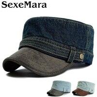 Adult Top Quality Denim Wash Flat Army Hats Women And Men PU Leather Peak Peaked Baseball