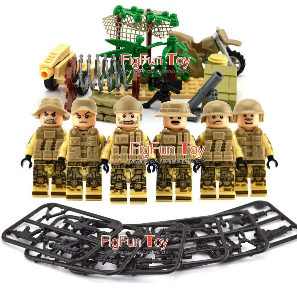 6pcs Military Soldiers Vehicles For Building Blocks Accessories Figures Toys