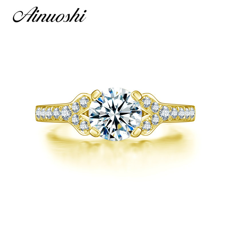 AINUOSHI 10k Solid Yellow Gold Wedding Rings Brilliant Anillos Mujer 1 Carat SONA Simulated Diamond Engagement Ring for Women ainuoshi 10k solid yellow gold wedding ring sona simulated diamond jewelry lady anillos new flower shape women engagement rings