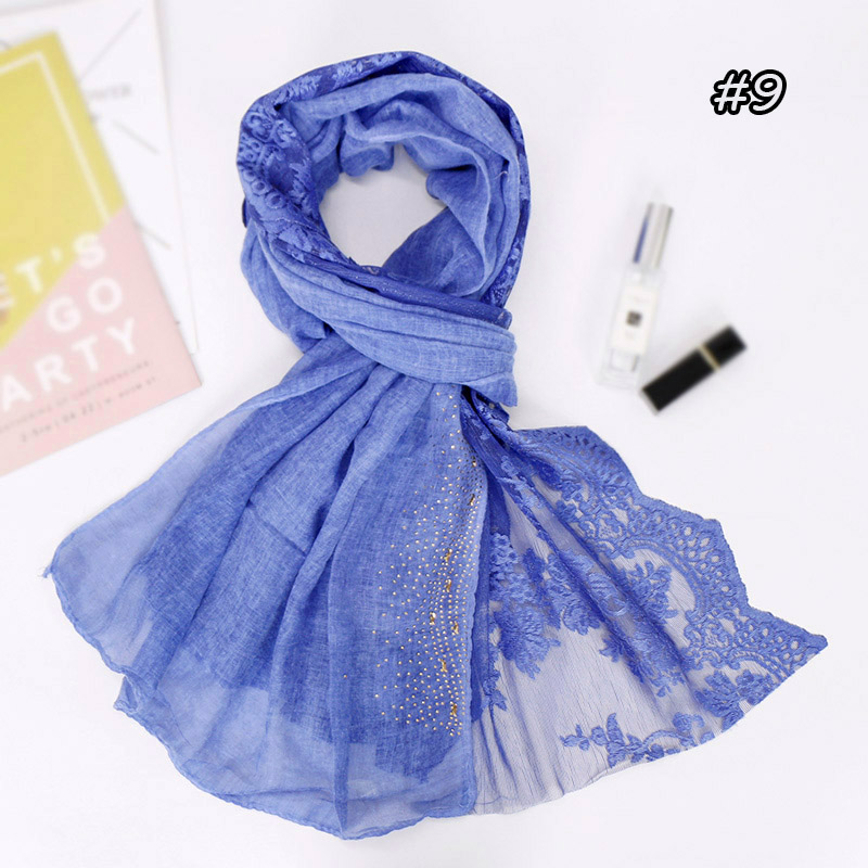 Lace floral hijab scarf plain maxi diamond wraps bandhnu cotton shawls muslim fashion headband wraps islamic