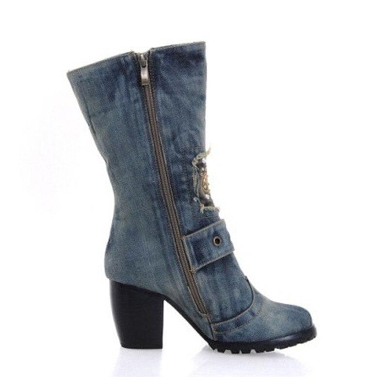 Denim Bottes Bleu Femmes Chevalier De Mi Nouvelles mollet Rond Hauts Dames Stilettos Bout Carré D'hiver Chaussures Femme Talons Boot Mode VSzUMqpG