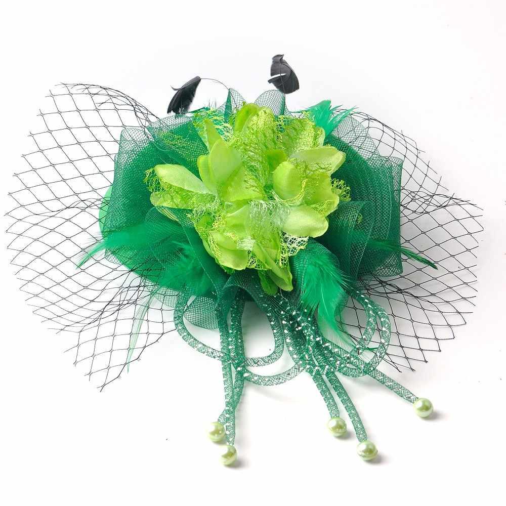 18design Wählen Handmade Grün Fascinator Blumen Kirche Pillbox Hut Schleier Haar Clips Cocktail Hochzeiten Party Frauen Haarteil
