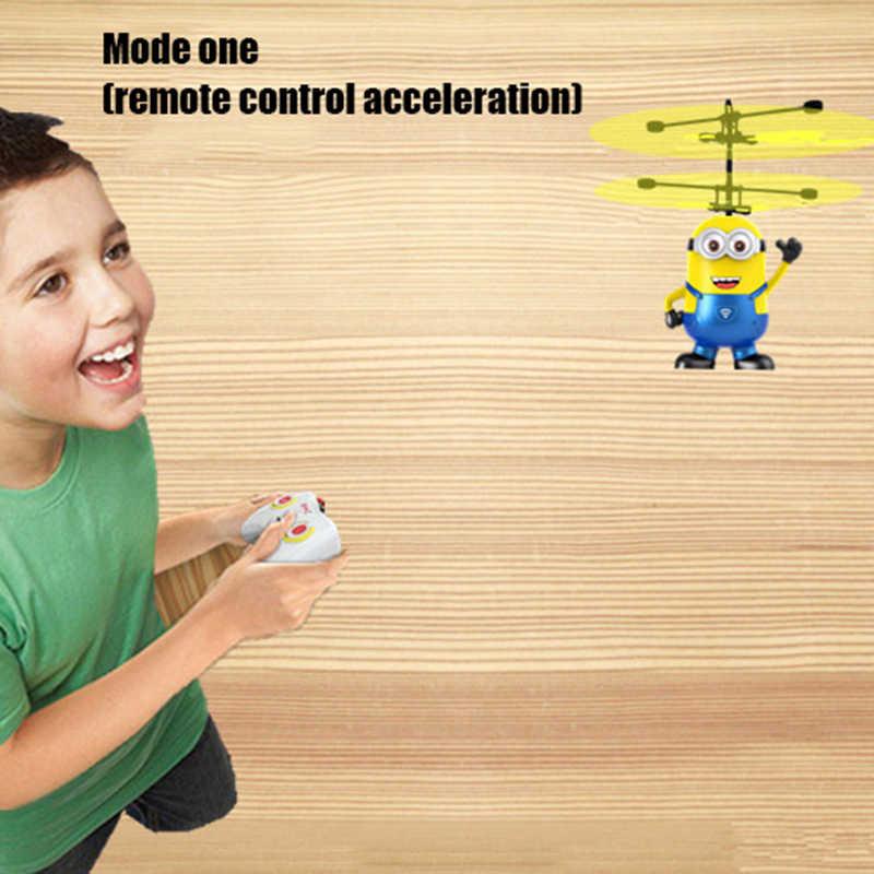 Minion RC helicóptero Control de mano RC Drone volar helicóptero intermitente juguetes para niños Minion helicóptero Quadcopter Drone con LED