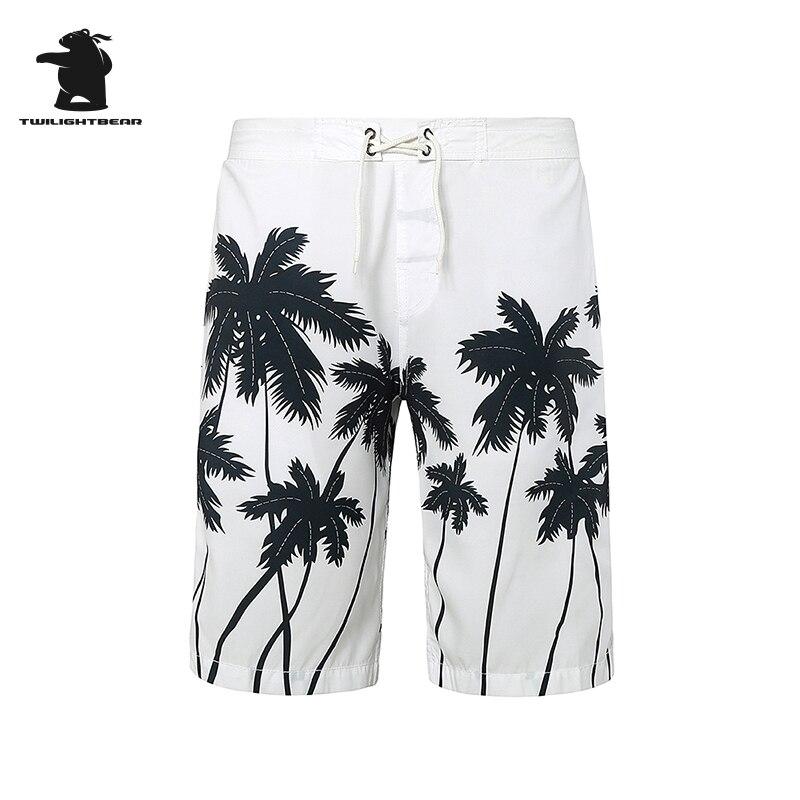 Бренд Для мужчин выстрел бордшорты новый человек Летняя мода Кокосовая пальма печать Рубашки домашние в полоску быстрое высыхание пляжные ...