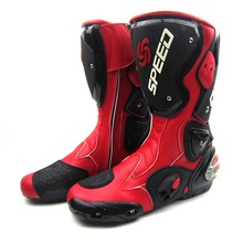2016 leather  motorcycle boots PRO-BIKER SPEED racing motocross boots high quality shoes mens long motorbike boots